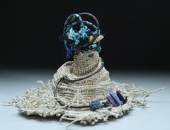 """Volcano 04"" Textile, Sculpture, Mixed Media, Waxed Linen, Abstract, Organic"