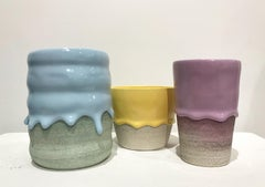 Set of Three Ceramic Vessels, Contemporary Design, Colorful Glazed Stoneware