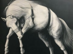 """Edge Event XXVII"", Figurative, Graphite, Drawing, Canvas, Horses, Realism"