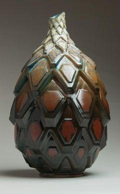 """Autumnal Shift"", Contemporary, Ceramic, Sculpture, Geometric, Patterning, Glaze"
