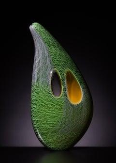 """""""Green Patchwork Mussel"""", Contemporary, Blown, Glass, Sculpture, Organic Shape"""