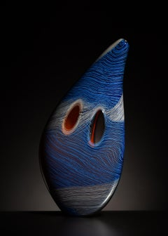 """Blue Stitched Mussel"", Contemporary, Blown, Glass, Sculpture, Organic Form"