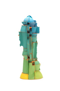 """Untitled, Tall Blue Top"", Contemporary, Ceramic, Sculpture, Colored Porcelain"