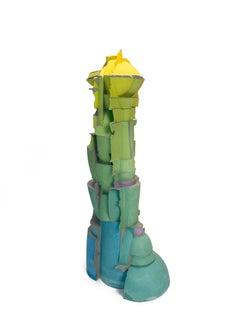 Untitled, Large, Contemporary, Ceramic, Totemic, Sculpture, Colored, Pigment