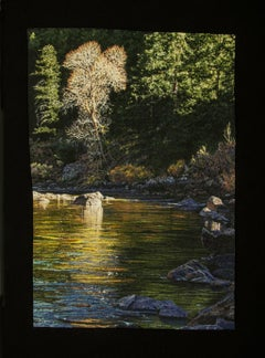 """""""Quiet Riverside"""", Contemporary, Framed, Embroidery, Photorealism, Nature"""