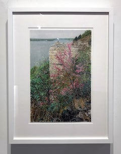 """Spring, River View"", Colored Pencil, Drawing, Archival Paper, Framed, Nature"