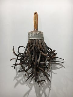 Catalpa Brush, Mixed Media Surrealist Sculpture with Wood, Metal, and Organic