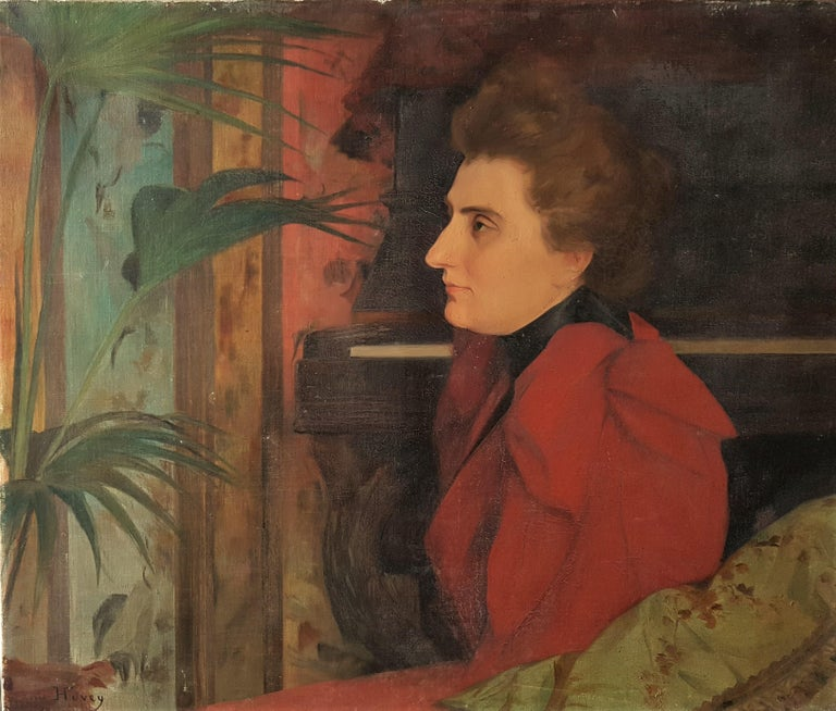 Louis HUVEY Portrait Painting - Portrait of the artist's wife : Eugénie, more commonly known as Blanche Cavelli