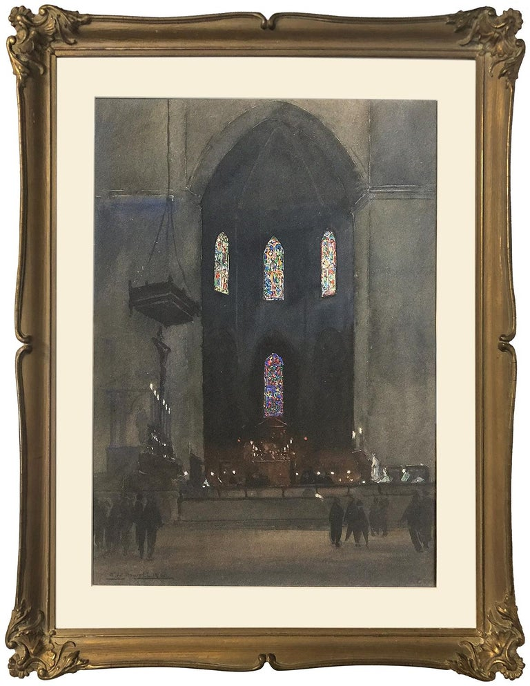 Eric Walter Powell (1886-1933) Eton College Chapel - Painting by Eric Walter Powell