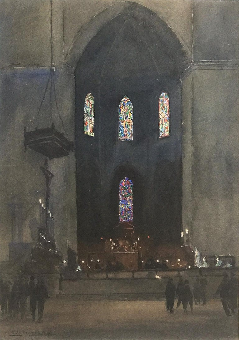 Eric Walter Powell (1886-1933) Eton College Chapel - Academic Painting by Eric Walter Powell