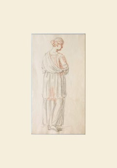 Mary Hoare (1753-1820) Figure Study in Black and Red Chalk