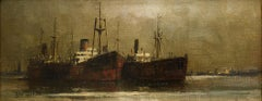 Steam Ships in the Harbour - George Dixon (British/Australian 1800s-1900s)