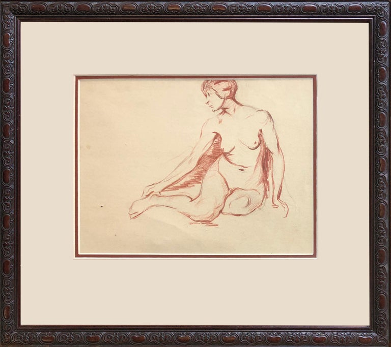 Charming Australian School, female nude study Circa 1950s. Drawn in pastel with traces of pencil and pentimento on buff coloured paper.  The drawing is nicely framed behind glass, there is a