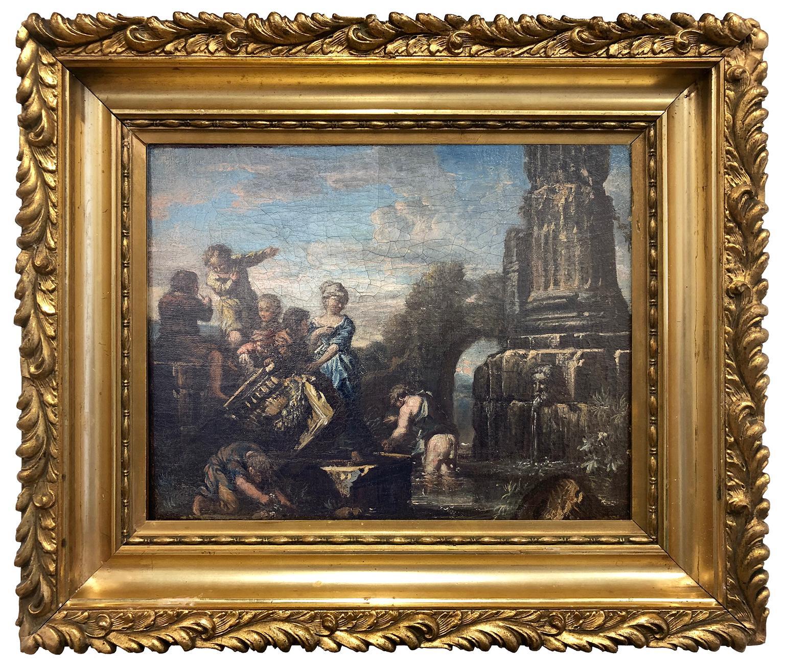 Venetian Capriccio with figures adorning a fountain - Venetian School Circa 1740