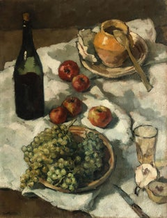 Still Life with Fruit, Wine and Honey - French Post Impressionist Still Life