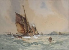 Coastal Fishing Boats - Frederick James Aldridge painted under pseudonym J. Hill
