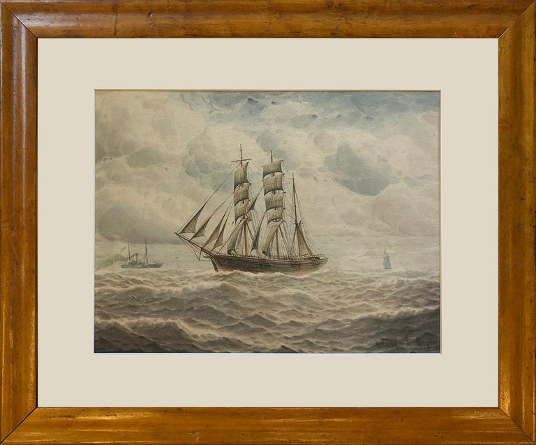 This is a lovely atmospheric watercolour by Norman Septimus Boyce, signed lower right, it depicts a sailing ship in the foreground with a distant steamer in the background.  Boyce is predominately known for his fishing and marine watercolours,