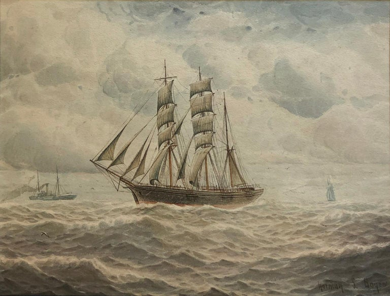 Ships at Sea - Norman Septimus Boyce (British 1895-1962) For Sale 1