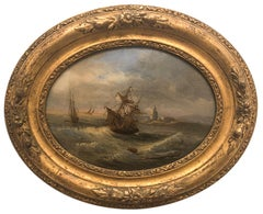 A Rough Crossing - English School Circa Early 19th Century - Oil on glass