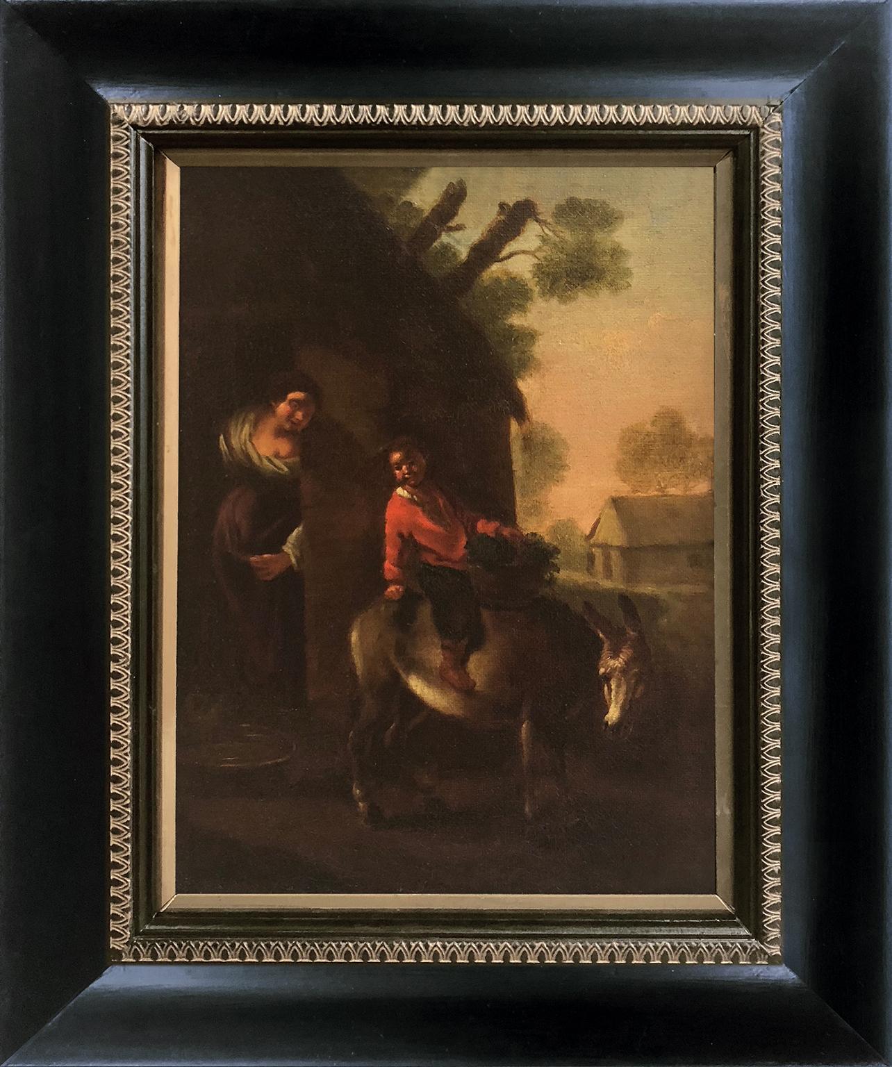 Boy on Donkey - Flemish School 17th Century