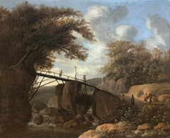 Travellers crossing a bridge in a wooded landscape Circa 1660