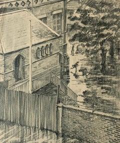 """British School Early 20th Century """"Schoolyard Dash"""" - Graphite on paper"""