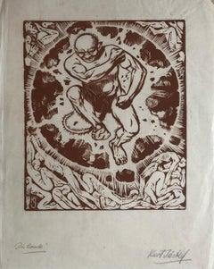 Die Bauilie (The Building) Linocut Print 1940s by Kurt Jackel (German 1883-1966)