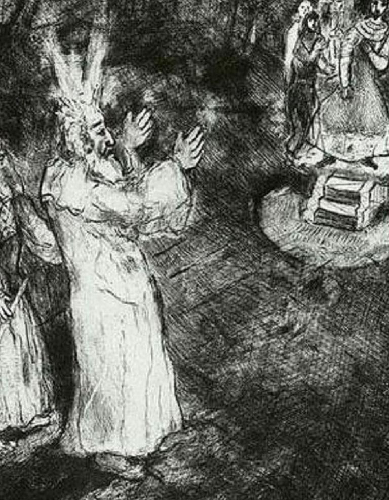 Marc Chagall Etching, 'Moses and Aaron Before Pharaoh', 1956 - Modern Art by Marc Chagall