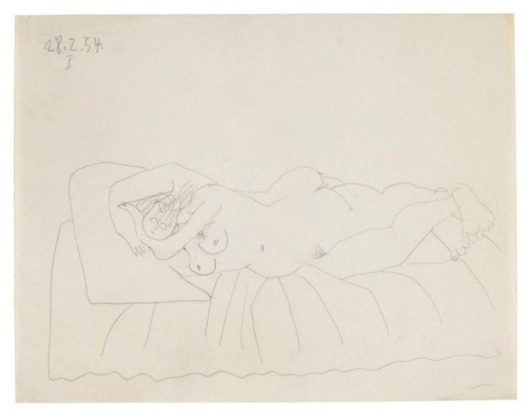 Pablo Picasso Drawing 'Nu couché endormi' Drawing 1954 - Cubist Art by Pablo Picasso
