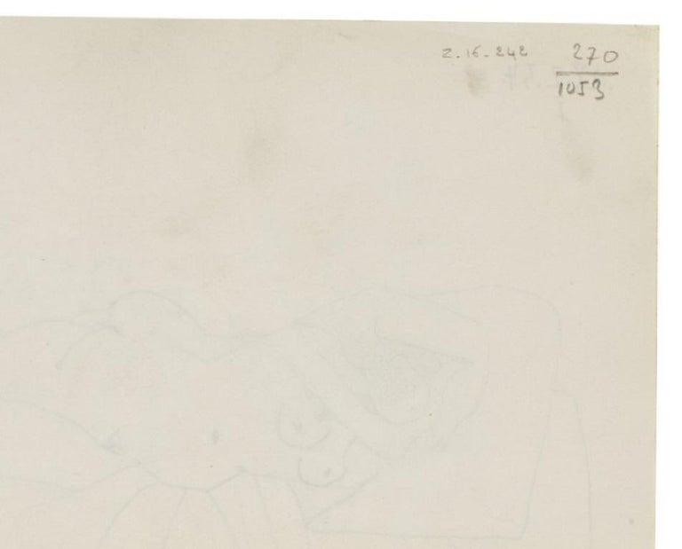 Pablo Picasso Drawing 'Nu couché endormi' Drawing 1954 - Beige Abstract Drawing by Pablo Picasso