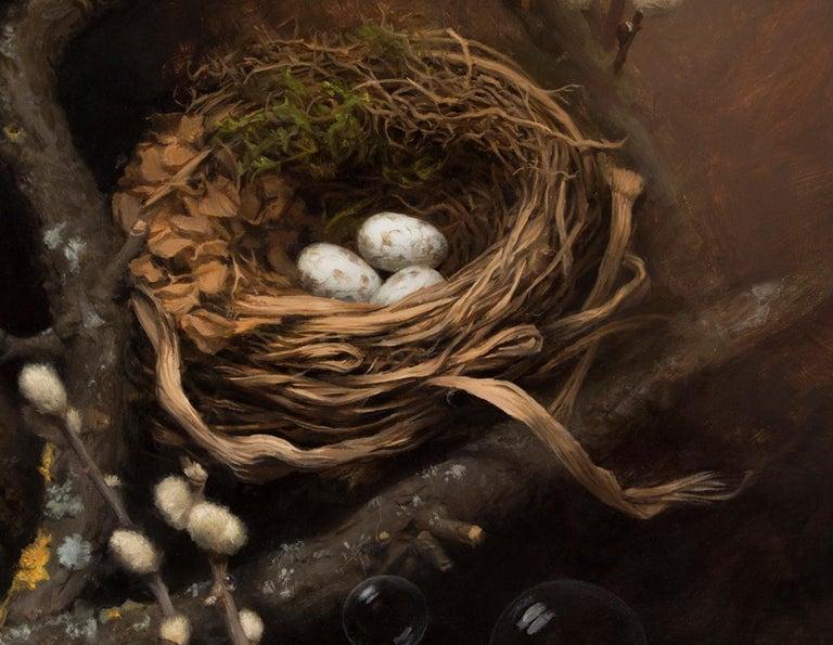 The Nest - Blue Figurative Painting by Lyubena Fox