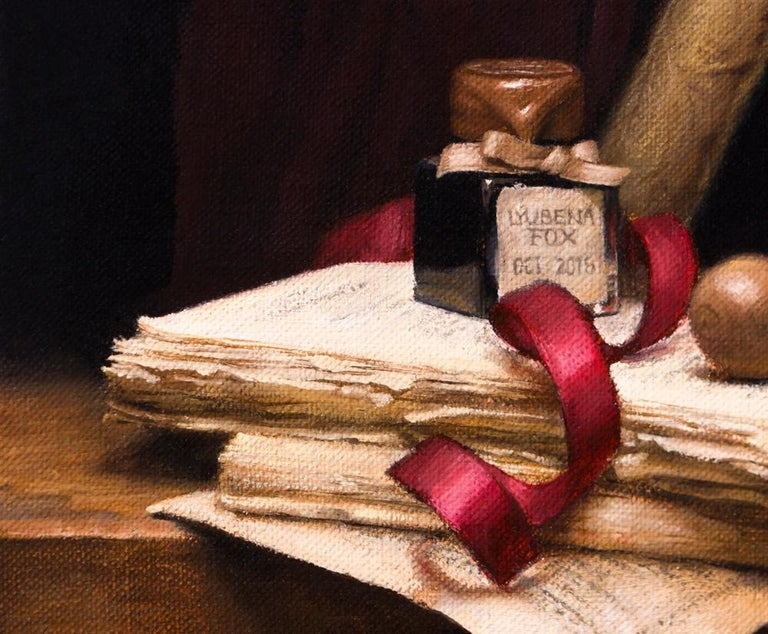 Poet's Desk - Painting by Lyubena Fox