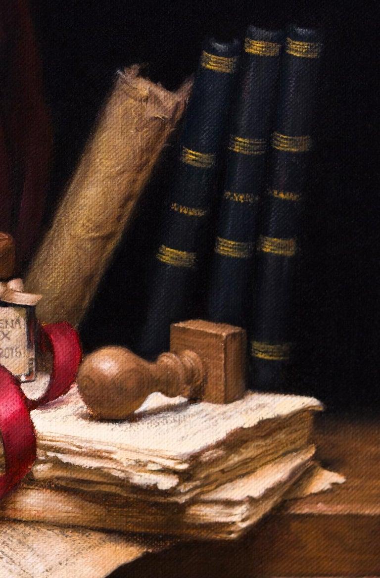 Poet's Desk - Realist Painting by Lyubena Fox