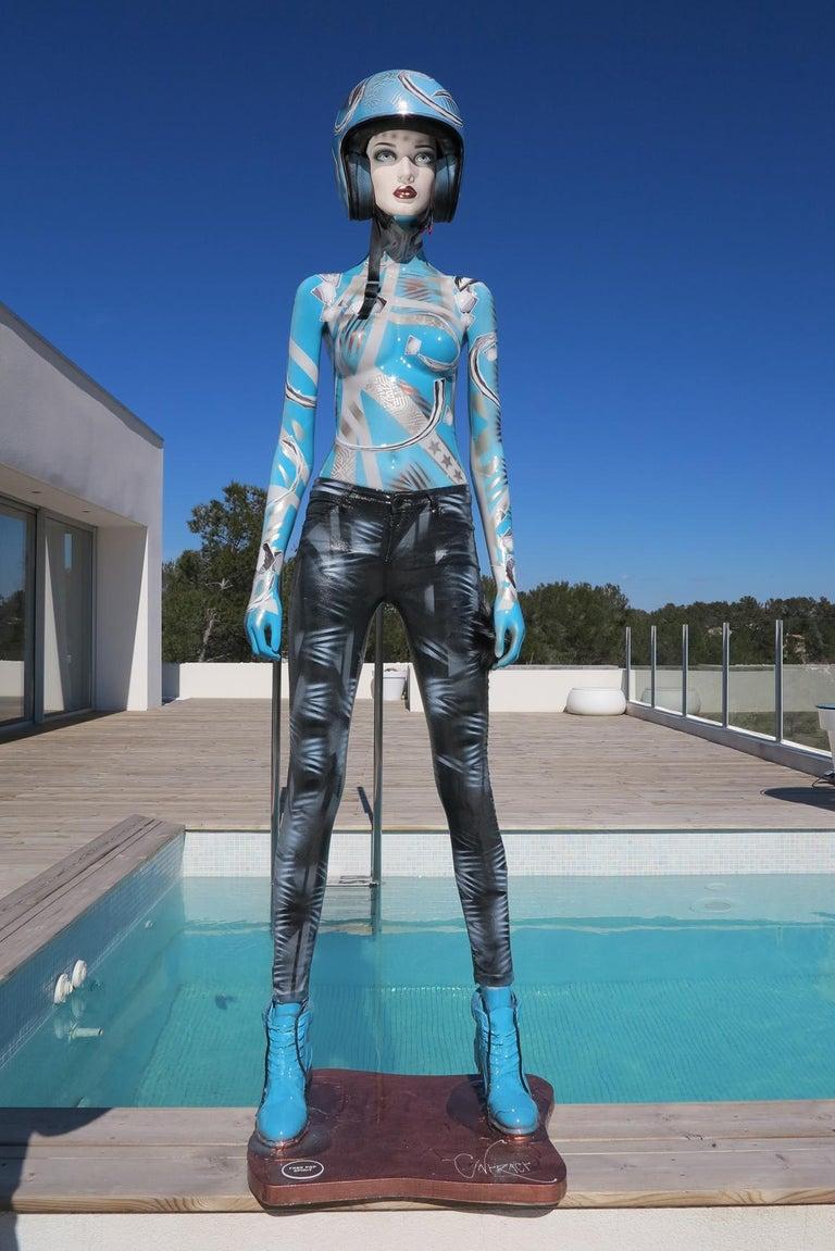 Algorithm Levitation - Blue Figurative Sculpture by David Cintract