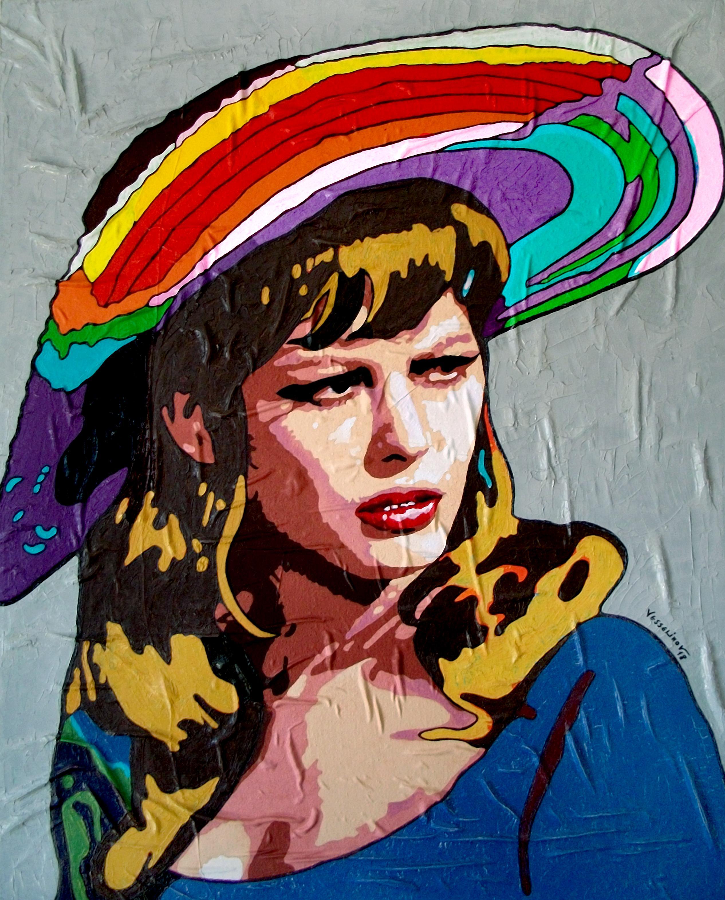 Claudia Cardinale - Portrait Painting Colors Beige Yellow Green Orange White