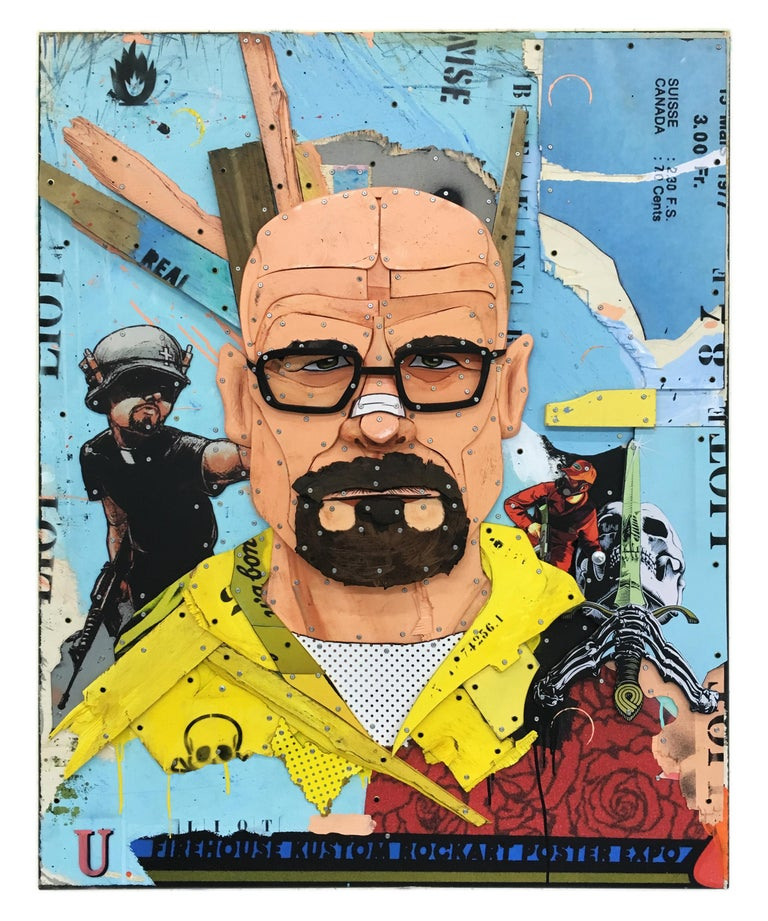 """Breaking Bad"" is a decorated wood sculpture.   It is created by the French artist Eric Liot.  About the artwork:  TECHNIQUE: Mixte, Low reliefs,  wood assemblage, collage, various objects, acrylic painting   NEW MOVEMENT & STYLE: POP ART,"