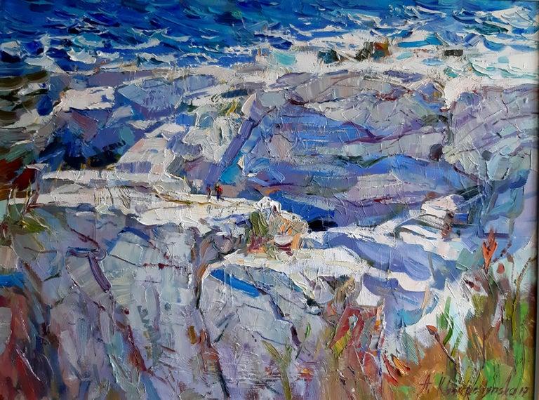 Alina Khrapchynska Landscape Painting - Greek Rocks
