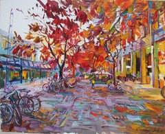 Colorful Autumn -Landscape Oil Painting Colors Orange Yellow Blue Red Pink White