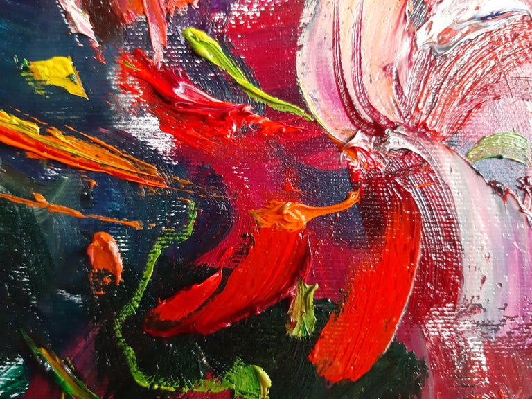 Flowers In The Night Landscape Paintings Colors Red Orange Blue Pink For Sale 1