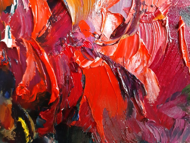 Flowers In The Night Landscape Paintings Colors Red Orange Blue Pink For Sale 2