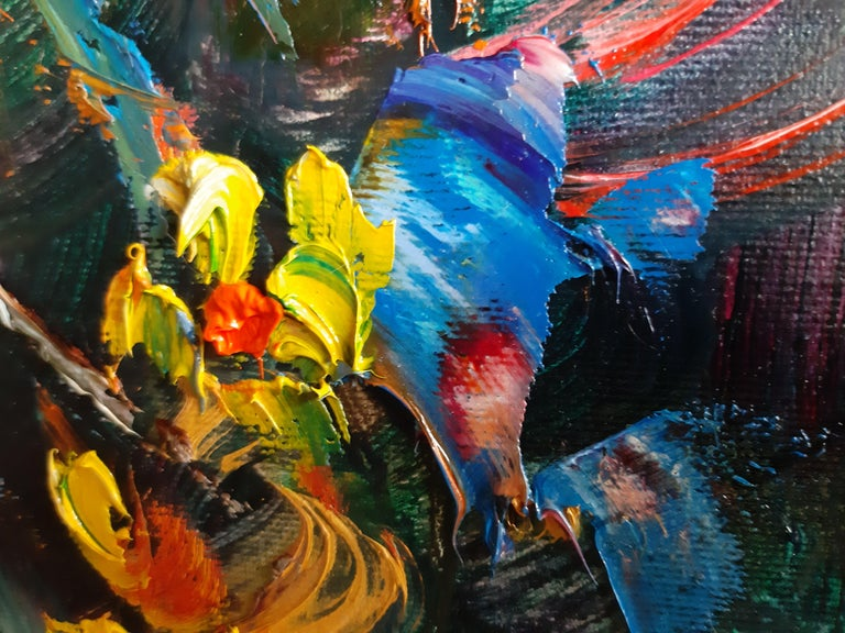 Flowers In The Night Landscape Paintings Colors Red Orange Blue Pink For Sale 3