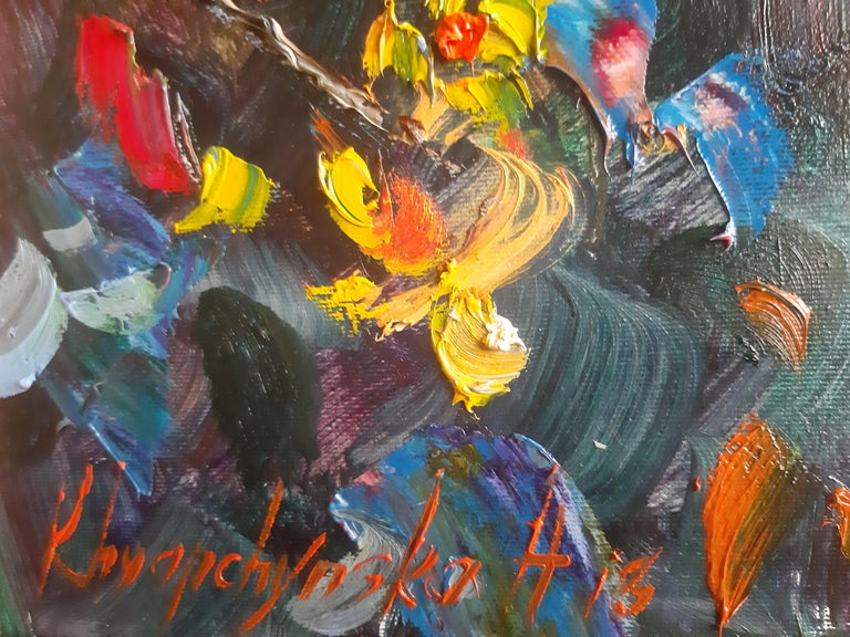 Flowers In The Night Landscape Paintings Colors Red Orange Blue Pink For Sale 5