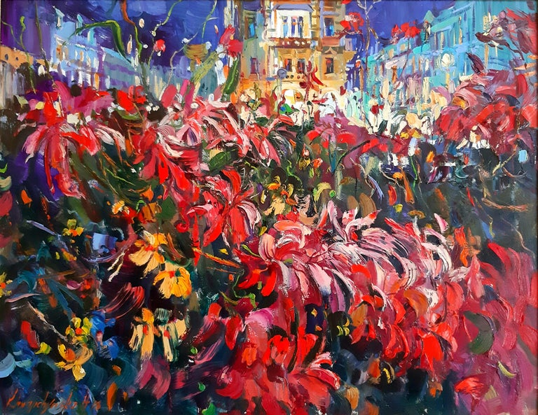 """""""Flowers In The Night"""" is an impressionist painting, oil on canvas by Maestro Alina Khrapchynska  About the artwork:  TECHNIQUE:  oil painting STYLE: Impressionist, Contemporary Edition : Unique, signed Weight: Approximately 2 kg.  The painting is"""