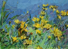 Forest Flowers - Still Life Oil Painting Colors Blue Green Yellow Brown