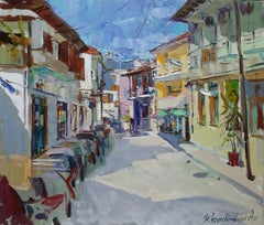 Siesta - Landscape Oil Painting Colors Blue White Brown Grey Yellow Purple Green
