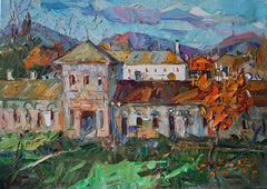 Autumn Chords -Landscape Oil Painting Colors Blue Green Brown White Grey Purple