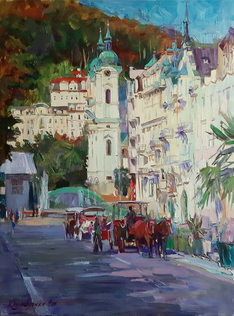 """Karlovy Vary - Day of Holiday"" is an impressionist painting, oil on canvas by Maestro Alina Khrapchynska  The painting is unframed.  ""The impressions of Maestro Alina's paintings on the viewer is so mighty, mesmerizing, grand, that it paralyzes the"
