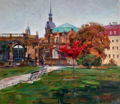 Autumn In Dresden - Landscape Painting Colors Blue Brown Green Red Purple