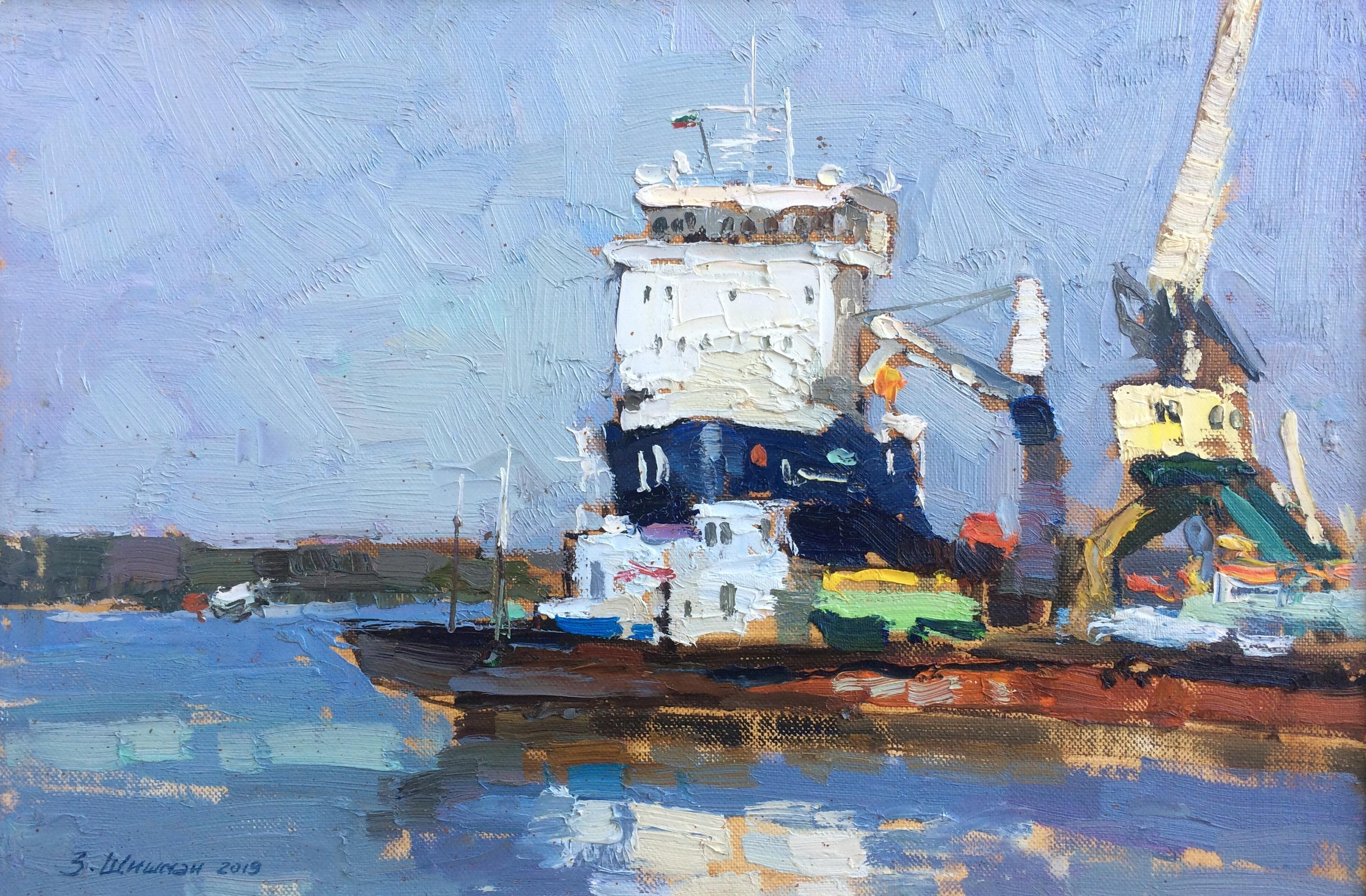 Sunny Port - Landscape Painting Canvas Oil Colors Blue Green White Yellow