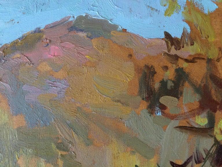 Carpathian Morning - Brown Landscape Painting by Zlata Shyshman
